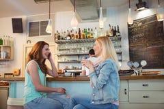 Amis heureux parlant au compteur dans le café Image libre de droits