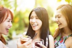 Amis heureux parlant et buvant dans le restaurant Images libres de droits