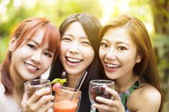 Amis heureux parlant et buvant dans le restaurant Photo libre de droits
