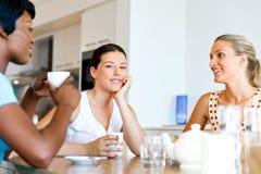 Amis heureux parlant et buvant du café et du thé Photo libre de droits