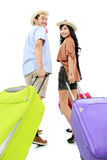 Amis heureux partant en vacances Image libre de droits
