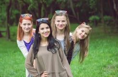 Amis heureux posant ensemble dans un jour d'été Image stock