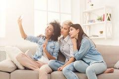 Amis heureux prenant le selfie à la maison Image stock