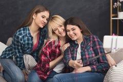 Amis heureux prenant le selfie avec le smartphone et le monopod Photographie stock libre de droits