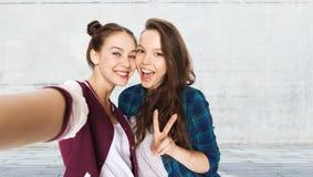 Amis heureux prenant le selfie et montrant la paix Photo stock