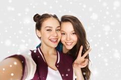 Amis heureux prenant le selfie et montrant la paix Image libre de droits