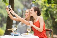 Amis heureux prenant un selfie Image stock
