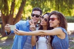 Amis heureux prenant un selfie en parc Images stock