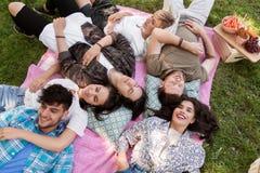 Amis heureux refroidissant sur la couverture de pique-nique à l'été Images libres de droits