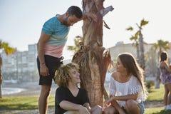 Amis heureux s'asseyant sous parler d'arbre Photographie stock