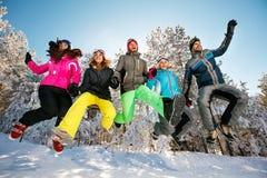 Amis heureux sautant dans la neige Image libre de droits