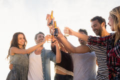 Amis heureux soulevant des bouteilles à bière Photo stock