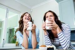 Amis heureux tenant des tasses de café à la table Image libre de droits