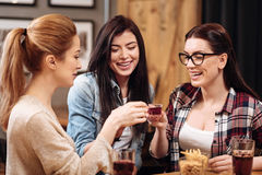 Amis heureux touchant leurs verres Image stock