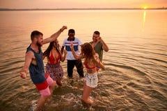Amis hilares traînant à la partie en plein air Photos libres de droits