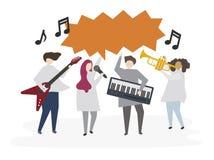 Amis illustrés jouant la musique ensemble illustration stock