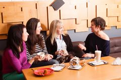 Amis informels de réunion en café Photographie stock