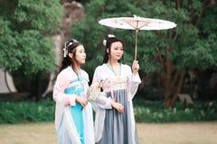 Amis intimes de bestie de beauté de classique chinois de Cosplay les meilleurs dans le drame antique traditionnel costument le ha Photo libre de droits