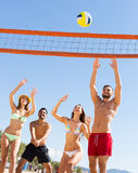 Amis jouant au volleyball Photographie stock