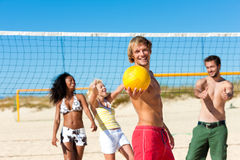 Amis jouant au volleyball de plage Photographie stock libre de droits