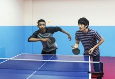 Amis jouant le ping-pong Photos stock