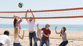 Amis jouant le volleyball à la plage Photo stock