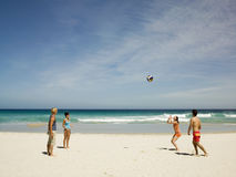 Amis jouant le volleyball sur la plage Photos libres de droits