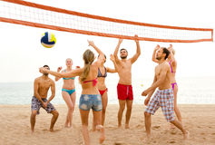 Amis jouant le volleyball sur une plage Photos libres de droits