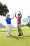 Amis jouants au golf encourageants Images stock