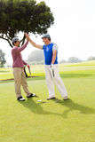 Amis jouants au golf fiving haut sur le trou Photos stock