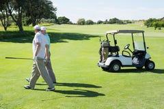Amis jouants au golf marchant près de leur boguet Photographie stock