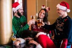 Amis joyeux buvant la bière et le cocktail Photos libres de droits