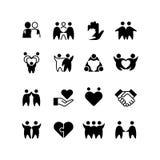 Amis, amis, ligne icônes d'étreinte d'homme L'amitié, l'harmonie et le groupe amical décrivent des symboles d'isolement illustration de vecteur
