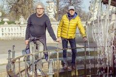 Amis mûrs d'hommes appréciant des vacances dans une ville moderne Photo stock