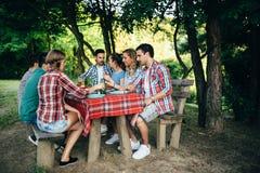 Amis mangeant dehors et ayant l'amusement Images libres de droits