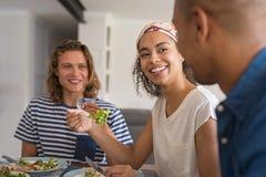 Amis mangeant le déjeuner ensemble Photo libre de droits