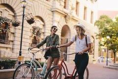 Amis marchant avec des bicyclettes sur la rue Photographie stock
