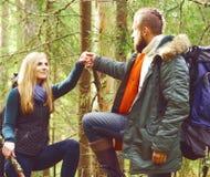 Amis marchant dans la forêt et appréciant une bonne journée d'automne Camp, Images libres de droits