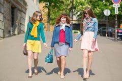 Amis marchant ensemble à Paris Photos stock