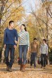 Amis marchant ensemble en parc en automne Images libres de droits