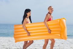 Amis marchant sur la plage Photographie stock