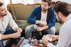 Amis masculins agréables s'amusant Image libre de droits