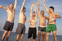 Amis masculins ayant l'amusement sur la plage Image stock