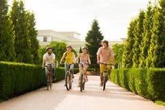 Amis masculins et féminins montant des vélos dehors Images stock