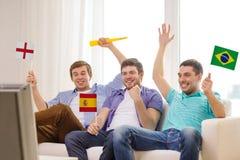 Amis masculins heureux avec des drapeaux et le vuvuzela Photographie stock libre de droits