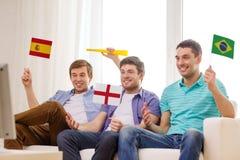 Amis masculins heureux avec des drapeaux et le vuvuzela Photos stock