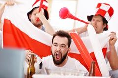 Amis masculins heureux encourageant et observant des sports à la TV Image libre de droits