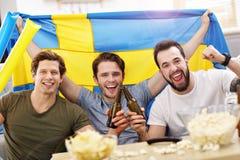 Amis masculins heureux encourageant et observant des sports à la TV Images stock