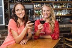Amis mignons ayant un verre de vin rouge Images stock