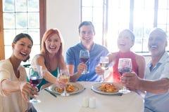 Amis montrant le verre de vin tout en ayant le repas Image stock